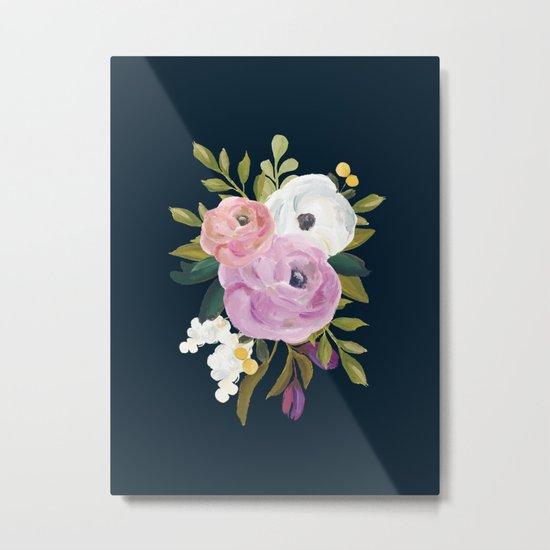 Midnight Florals - Pink & Purple Metal Print