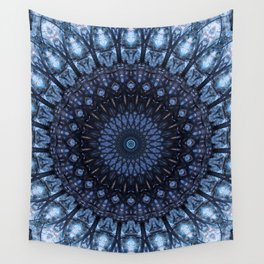 Dark and light blue mandala Wall Tapestry