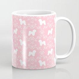 Bichon Frise dog florals silhouette pink and white minimal pet art dog breeds silhouettes Coffee Mug