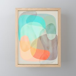 Shapes and Layers no.29 - Blue, Orange, Gray, abstract painting Framed Mini Art Print