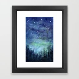 Watercolor Galaxy Nebula Northern Lights Painting Framed Art Print