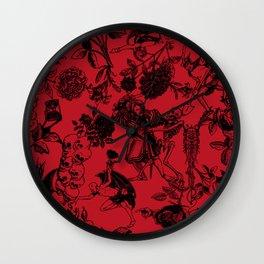 Demons N' Roses Toile in Blood Red + Black Wall Clock
