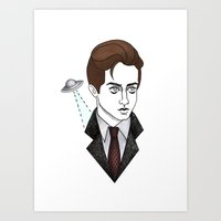 mulder Art Prints featuring spooky mulder by Bunny Miele