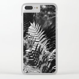 Ostrich Fern in Black and White Clear iPhone Case