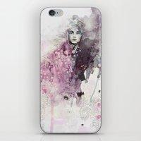 fashion illustration iPhone & iPod Skins featuring FASHION ILLUSTRATION 15 by Justyna Kucharska