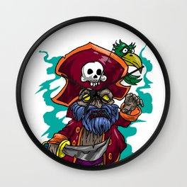 Pirate Skull  Parrot  Knife  Rover Sea-Robber Gift Wall Clock