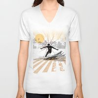 surfer V-neck T-shirts featuring surfer by michael cheung