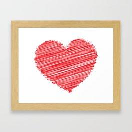 RED HEART SCRIBBLES Pop Art Framed Art Print