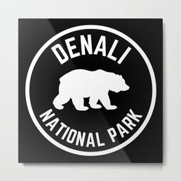 Denali National Park Nature Alaska Grizzly Bear Vintage Travel Sign Metal Print