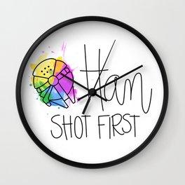Han Shot First Wall Clock