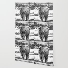 Highland Cow Black And White Wallpaper