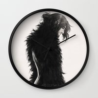 kili Wall Clocks featuring Raven kili by AlyTheKitten
