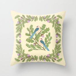 Art Nouveau Illustration / Square / Birds on Oak Tree / Blue Feathered Birds Throw Pillow