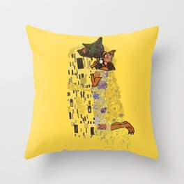 The Kiss Cats Throw Pillow