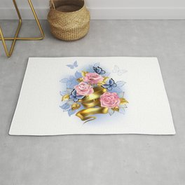 Pink Roses with Gold Ribbon Rug