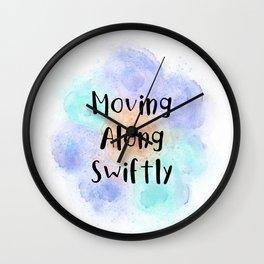 Moving Along Swiftly (black, orange, mint, violet) Wall Clock