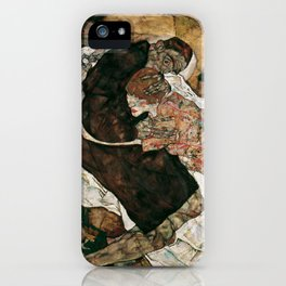 """Egon Schiele """"Death And The Maiden"""" iPhone Case"""