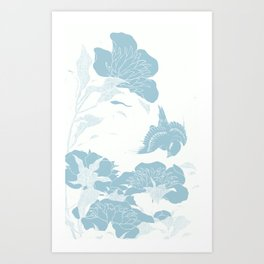 japanese Flowers White and Blue Art Print