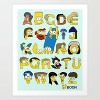 simpsons Art Prints featuring Simpsons Alphabet by Mike Boon