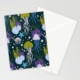 Jellyfish Dreams in Lime Green Stationery Cards