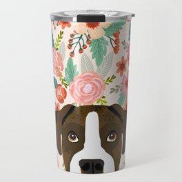 Boxer dog breed floral pattern background pet gifts dog breed dog mom gifts Travel Mug