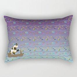 Captain Cat in purple fade Rectangular Pillow