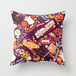 Creepy Halloween Candy on Purple Throw Pillow