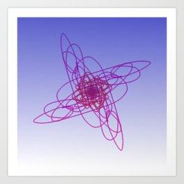 Design mandala Deluxe pink on blue Art Print