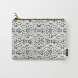 Farmhouse Scoll Diamond Ikat Pattern - Cream Navy Carry-All Pouch