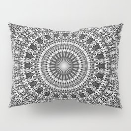 Grey Lace Ornament Mandala Pillow Sham