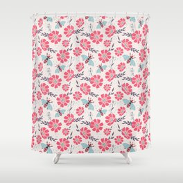 Honey Bees on Coral Pink Flowers Shower Curtain