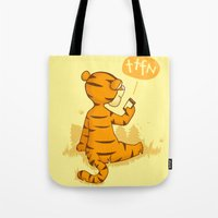 tigger Tote Bags featuring Ta Ta For Now by Skylar Hogan