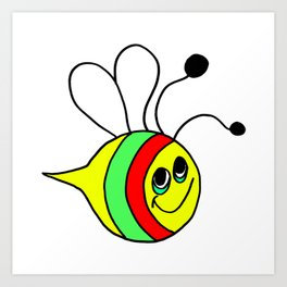 Drawn by hand a colorfull bee for children and adults Art Print