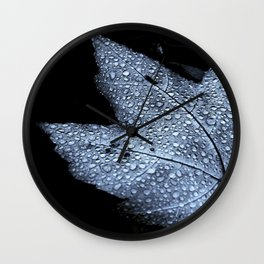 Leaf with Droplets Wall Clock