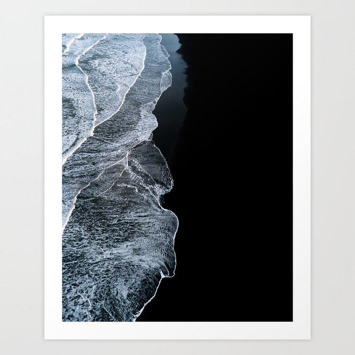 waves on a black sand beach in iceland minimalist landscape photography art print by regnumsaturni
