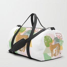 Minimal Modern Tropical Cheetah  Tropical Leaves Duffle Bag