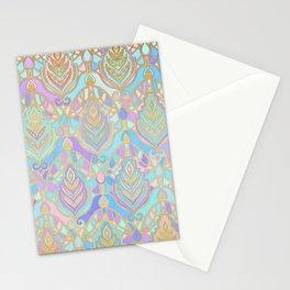 Jade & Blue Enamel Art Deco Pattern Stationery Cards