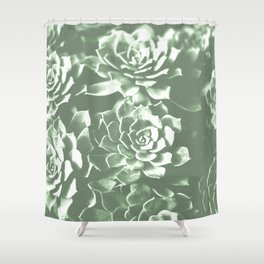 Modern sucullent green cactus floral pattern Shower Curtain