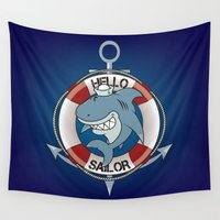 sailor Wall Tapestries featuring Hello sailor! by mangulica
