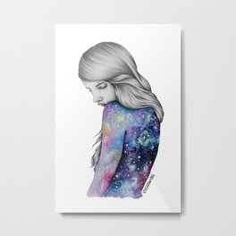 Galaxy Girl Watercolour Painting (Series 1) Metal Print