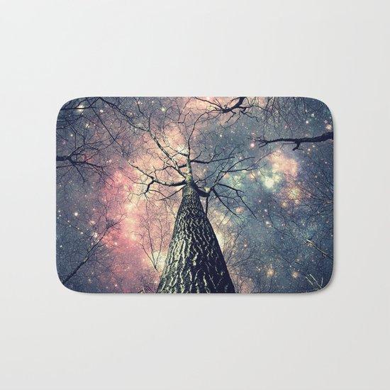 Wintry Trees Galaxy Skies Bath Mat