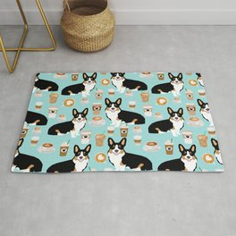 Welsh Corgi tri colored coffee lover dog gifts for corgis cafe latte pupuccino Rug