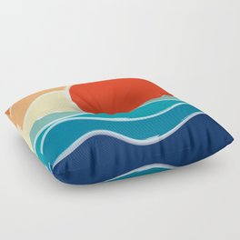 Retro 70s and 80s Color Palette Mid-Century Minimalist Nature Waves and Sun Abstract Art Floor Pillow