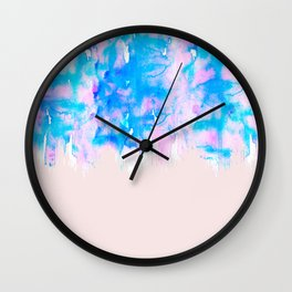 Girly Pastel Pink and Blue Watercolor Paint Drips Wall Clock