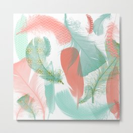 Peach and Turquoise Feathers Metal Print