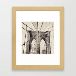 Brooklyn bridge, New York city, black & white photography, wall decoration, home decor, nyc fine art Framed Art Print