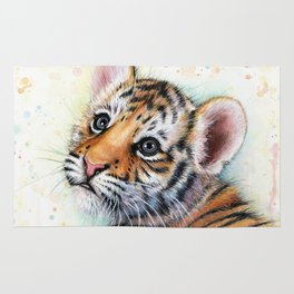 Nursery-Artwork-Tiger-Cub-Baby-Animal-Watercolor-Jungle-Safari-Animals Rug