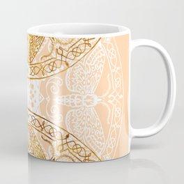 Bees Golden Mandala and Peach Coffee Mug