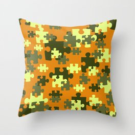 Puzzle green orange pattern Throw Pillow