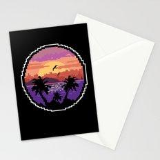 Pixel Sunset Stationery Cards